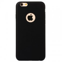 Capa Silicone Iphone Logotipo Preta